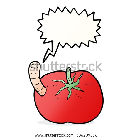 cartoon tomato with worm with speech bubble - stock vector