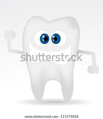 Cartoon tooth - stock vector