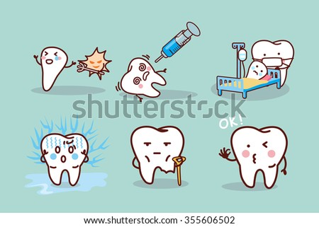 cartoon tooth cavity, great for health dental care concept - stock vector