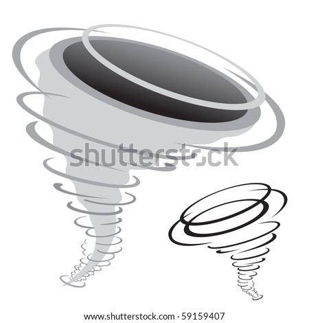 cartoon tornado isolated on the white background - stock vector