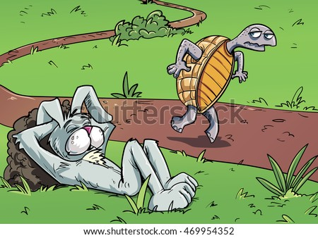 Cartoon tortoise and hare. Tortoise sneaking past hare