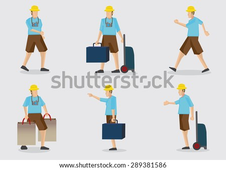 Cartoon tourist on vacation with baggage and camera hanging on his neck. Set of six vector character illustrations isolated on plain background. - stock vector