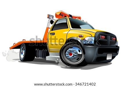 Cartoon tow truck isolated on white background. Available EPS-10 vector format separated by groups and layers for easy edit - stock vector