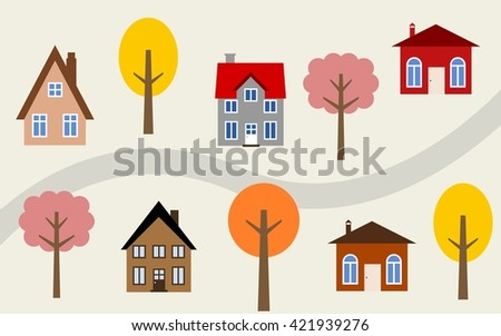 Cartoon town illustration - cute homes along the road. Autumn theme. - stock vector