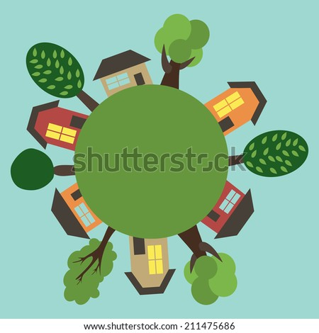 Cartoon Town On the Round Earth. Vector Illustration. City Landscape - stock vector