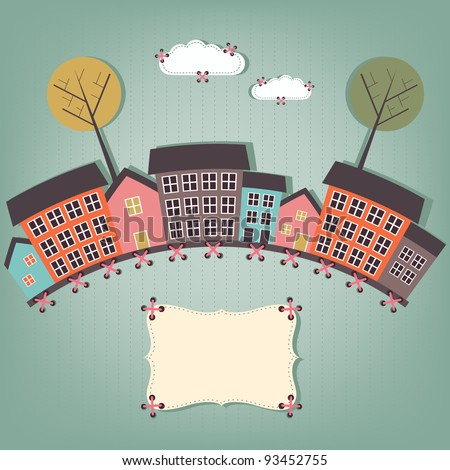 cartoon town - scrap elements - stock vector