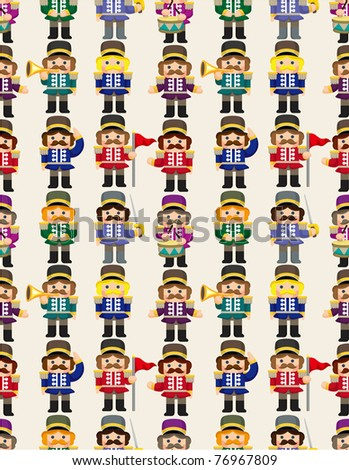 cartoon Toy soldier seamless pattern - stock vector