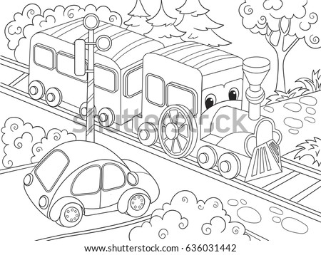 Cartoon Train And Car Coloring Book For Children Vector Illustration Black White
