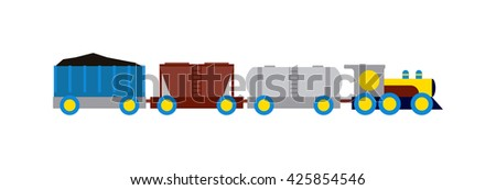 Cartoon transportation train with colorful blocks isolated over white and toy train vector set. Flat train color railroad and cartoon cargo train fun leisure joy gift. Locomotive transportation - stock vector