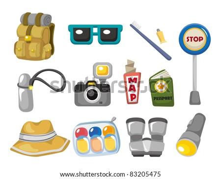 Cartoon travel icons set - stock vector