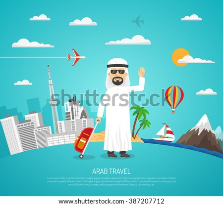 Cartoon travel poster with arab tourist in sunglasses on cityscape and landscape background vector illustration - stock vector
