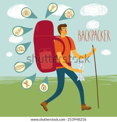 Cartoon traveler with a large backpack and icons including map, flashlight, camera, knife, sleeping bag, tent, compass. Backpacker illustration  - stock vector