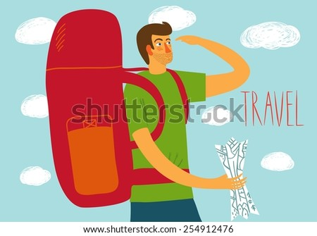Cartoon traveler with a large backpack and map. Backpacker illustration  - stock vector