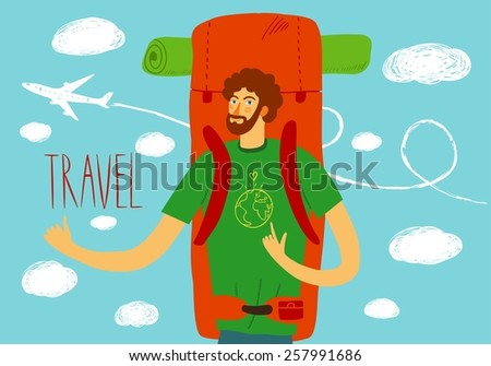 Cartoon traveler with a large backpack and plane on background. Backpacker illustration  - stock vector