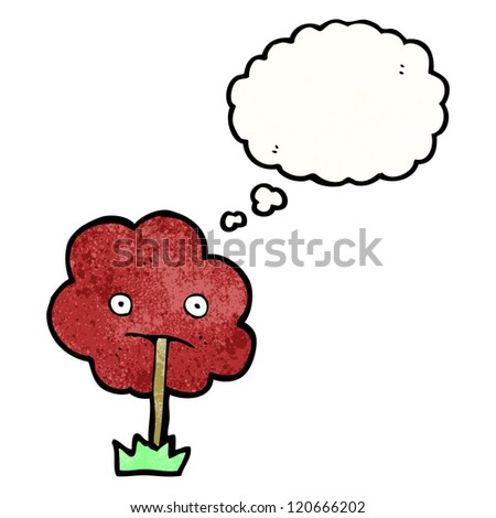 cartoon tree with red leaves