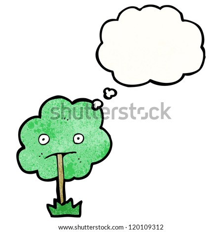 cartoon tree with thought bubble