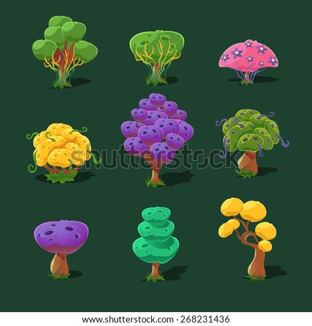 Cartoon trees and bushes, vector set - stock vector