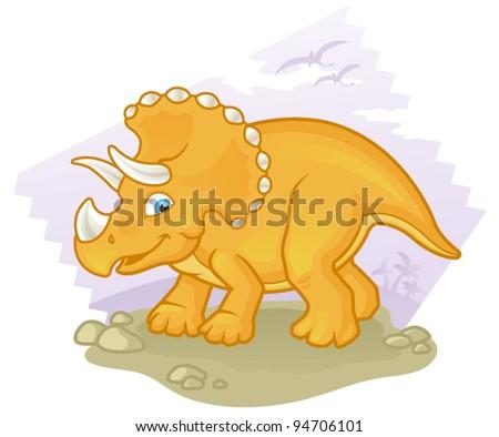 Cartoon Triceratops - stock vector