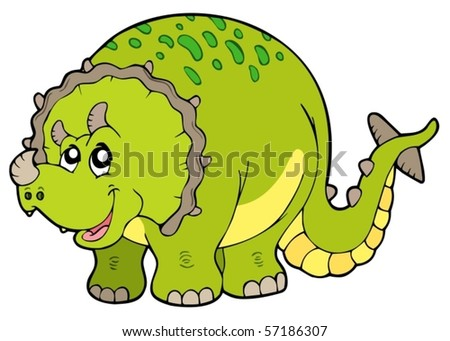 Cartoon triceratops on white background - vector illustration.