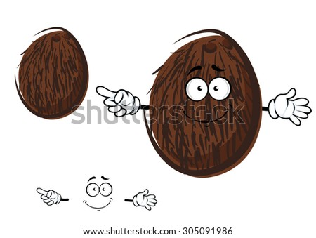 Cartoon tropical coconut fruit character with brown coir fibre and cheerful smile, for agriculture or food design - stock vector