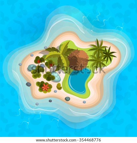cartoon tropical exotic island in ocean.Top view island sprite. Vector game design for app