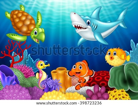 Cartoon tropical fish and beautiful underwater world with corals - stock vector