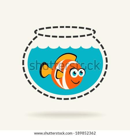 Cartoon Tropical Fish in a Fishbowl - stock vector