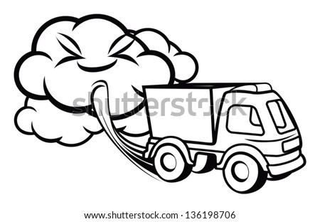 Cartoon truck blowing exhaust fumes - stock vector