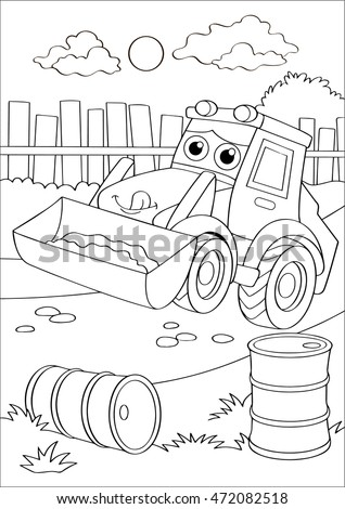 Cartoon Truck Car Village Forklift Coloring Stock Vector 472082518 ...