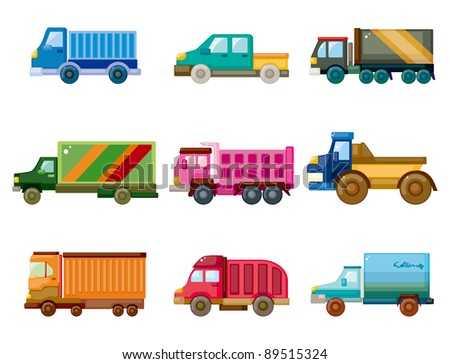 cartoon truck icon - stock vector