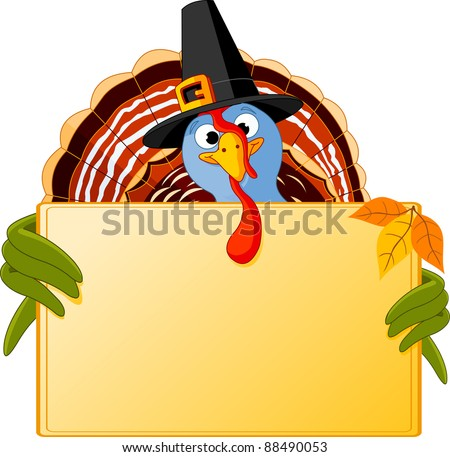 Cartoon turkey over blank sign - stock vector