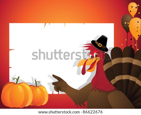 Cartoon Turkey Party Background EPS 8 vector, with no open shapes, strokes or transparencies. Grouped for easy editing. - stock vector