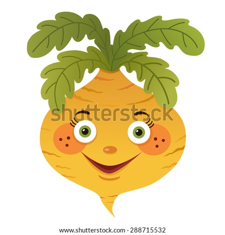 cartoon turnip isolated on white background - stock vector