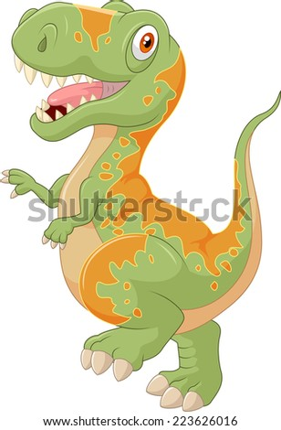 Cartoon tyrannosaurus - stock vector