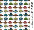 cartoon ufo spaceship seamless pattern - stock vector