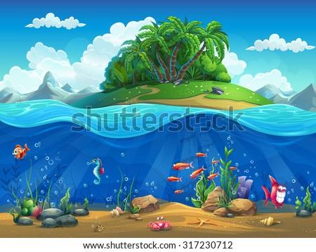 Cartoon underwater world with fish, plants, island - stock vector