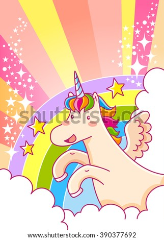 cartoon unicorn flying over the rainbow with glitters and space for text - stock vector
