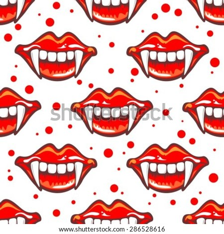 Cartoon vampire smile with fangs. Seamless pattern. - stock vector