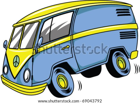 Cartoon Van - stock vector