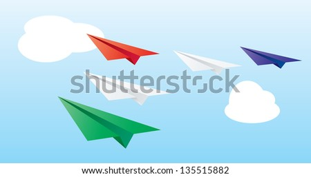 Cartoon vector background of flying paper planes.