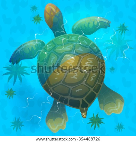 cartoon vector blue sea turtle under water. Top view . Vector game design for app - stock vector