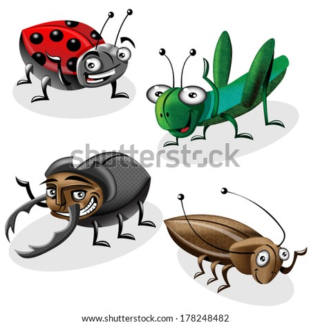 Cartoon vector bugs set. - stock vector