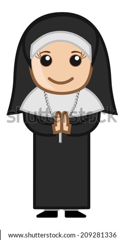 Cartoon Vector Character - Nun Praying - stock vector