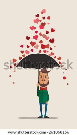 Cartoon Vector Character with Umbrella Under the Rain of Hearts  - stock vector