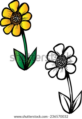 Cartoon Vector Coloring Book Illustration Of A Daisy Flower