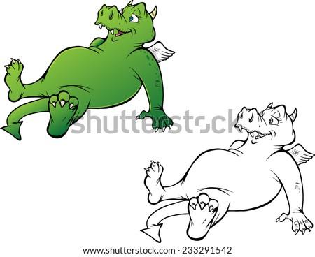 cartoon vector coloring book illustration of a friendly Dragon - stock vector