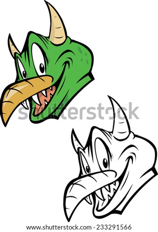 cartoon vector coloring book illustration of a green monster - stock vector