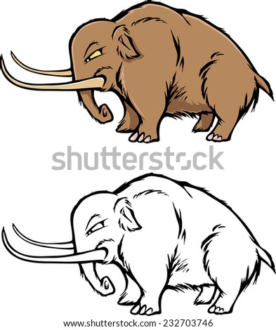 cartoon vector coloring book illustration of a mammoth - stock vector