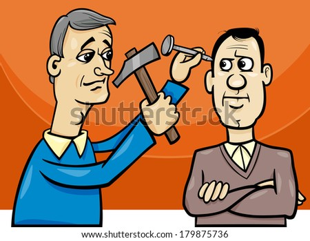 Cartoon Vector Concept Illustration of Hit the Nail on the Head Saying or Proverb