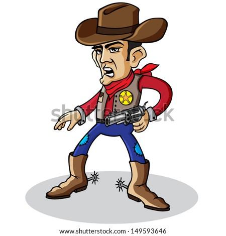 Cartoon vector cowboy holding a gun. - stock vector